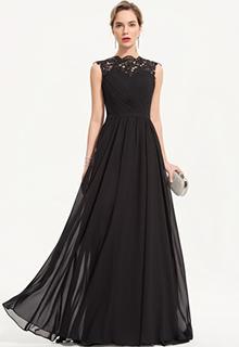 A-Line Scoop Neck Floor-Length Chiffon Evening Dress (017186163)