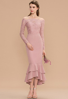 Trumpet/Mermaid Off-the-Shoulder Asymmetrical Lace Stretch Crepe Bridesmaid Dress With Cascading Ruffles (007165822)