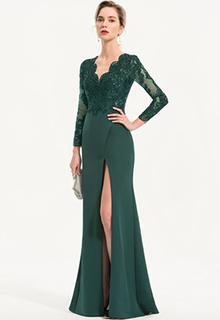 Sheath/Column V-neck Floor-Length Stretch Crepe Evening Dress With Sequins Split Front (017186140)