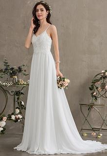A-Line Sweetheart Sweep Train Chiffon Wedding Dress (002186396)