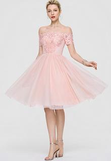 A-Line Off-the-Shoulder Knee-Length Tulle Cocktail Dress (016197116)