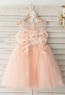 A-Line Knee-length Flower Girl Dress - Tulle/Lace Sleeveless Scoop Neck (010193072)