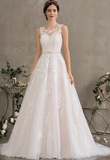 Ball-Gown/Princess Scoop Neck Court Train Tulle Wedding Dress With Beading Sequins (002186390)