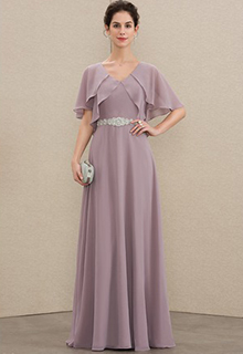 A-Line V-neck Floor-Length Chiffon Mother of the Bride Dress With Beading (008179207)