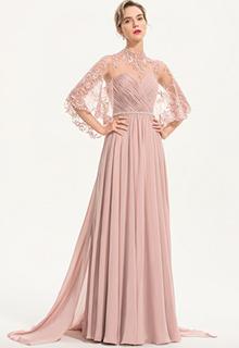 A-Line High Neck Floor-Length Chiffon Evening Dress With Beading (017186156)