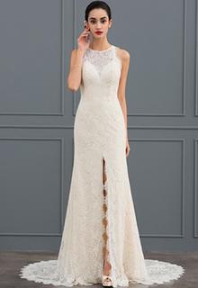 Sheath/Column Scoop Neck Court Train Lace Wedding Dress (002127263)