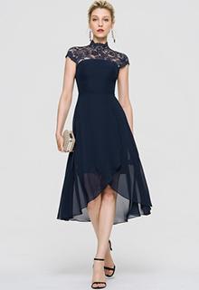 A-Line High Neck Asymmetrical Chiffon Cocktail Dress (016197093)