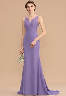 Trumpet/Mermaid V-neck Sweep Train Chiffon Lace Bridesmaid Dress (007176745)