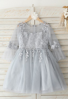 A-Line Knee-length Flower Girl Dress - Tulle/Lace 3/4 Sleeves Scoop Neck (010193069)