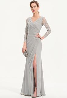 Sheath/Column V-neck Floor-Length Chiffon Evening Dress With Split Front (017186152)