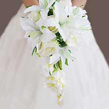 Comely Cascade Cloth Bridal Bouquets - (123205626)