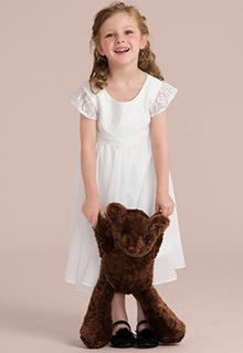 A-Line/Princess Tea-length Flower Girl Dress - Chiffon/Lace Short Sleeves Scoop Neck (Undetachable sash) (010132388)