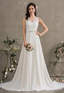 A-Line V-neck Court Train Chiffon Wedding Dress With Beading Sequins (002186397)