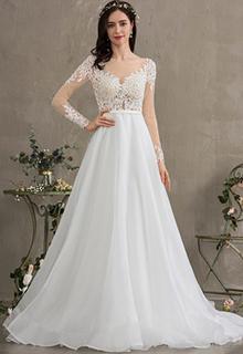 Ball-Gown/Princess Illusion Court Train Organza Wedding Dress (002186367)