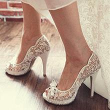 Women's Lace Stiletto Heel Peep Toe Beach Wedding Shoes With Ribbon Tie (047126532)