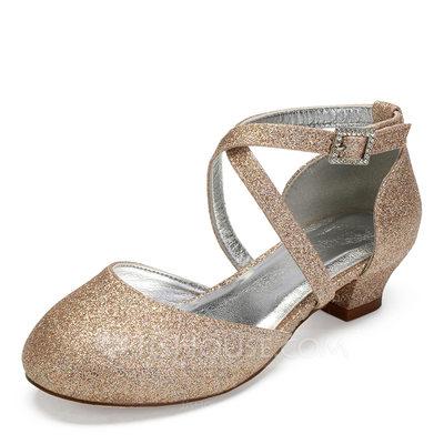 Girl's Round Toe Closed Toe Mary Jane Sparkling Glitter Chun...