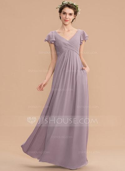 A-Line V-neck Floor-Length Chiffon Bridesmaid Dress With Cas...