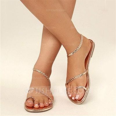 Women's Leatherette Flat Heel Sandals Flats Peep Toe Slingba...