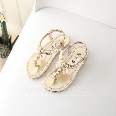 Girl's Peep Toe Flat Heel Sandals Flats With Imitation Pearl...
