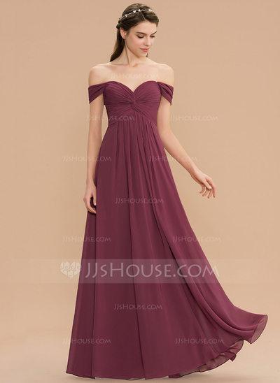 A-Line Off-the-Shoulder Floor-Length Chiffon Bridesmaid Dres...