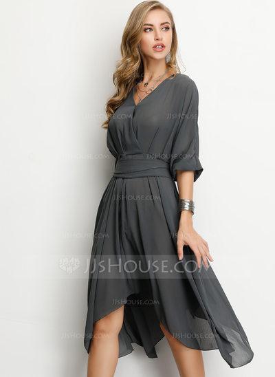 A-Line V-neck Asymmetrical Chiffon Cocktail Dress (016207856...