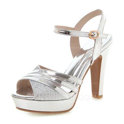 Women's Patent Leather Chunky Heel Sandals Pumps Platform Pe...