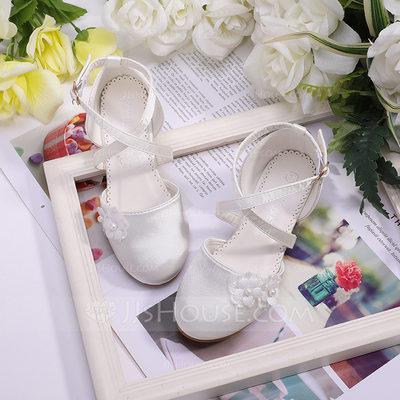 Girl's Round Toe Closed Toe Silk Like Satin Flats Sneakers &...
