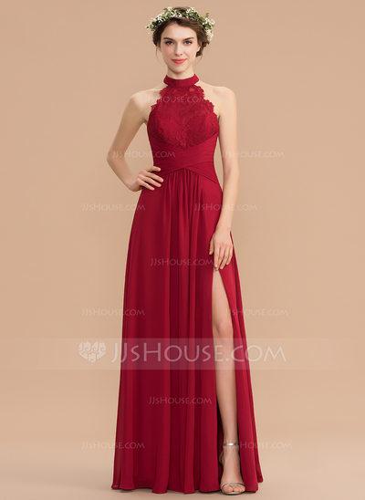 A-Line High Neck Floor-Length Chiffon Lace Bridesmaid Dress ...