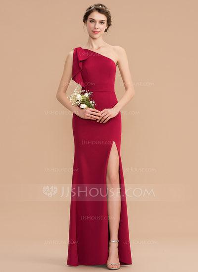 Sheath/Column One-Shoulder Floor-Length Stretch Crepe Brides...