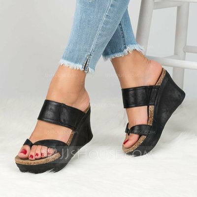 Women's Microfiber Leather Wedge Heel Sandals shoes (0872024...