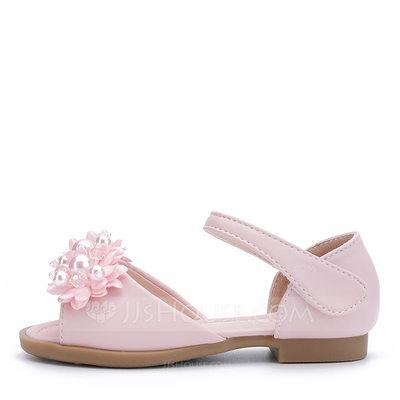 Girl's Peep Toe Microfiber Leather Sandals Flower Girl Shoes...