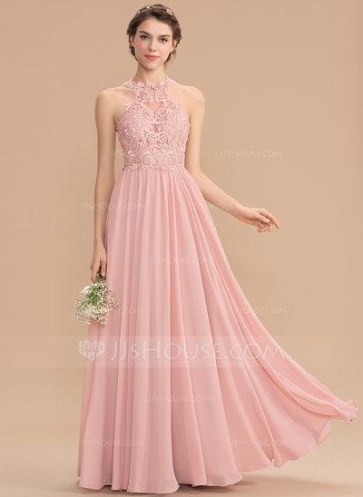 A-Line Scoop Neck Sweep Train Chiffon Lace Bridesmaid Dress ...