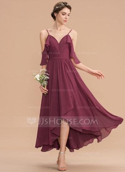 A-Line V-neck Asymmetrical Chiffon Bridesmaid Dress With Cas...