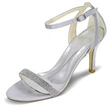 Women's Satin Stiletto Heel Peep Toe Pumps Sandals With Buckle Rhinestone (047095137)