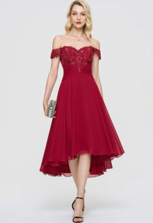 A-Line Off-the-Shoulder Asymmetrical Chiffon Cocktail Dress With Ruffle Sequins (016198250)