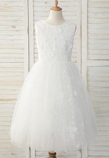 A-Line Tea-length Flower Girl Dress - Tulle/Lace Sleeveless Scoop Neck With Back Hole (010183551)