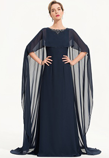 A-Line Scoop Neck Sweep Train Chiffon Evening Dress With Beading (017186157)