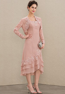 A-Line Square Neckline Asymmetrical Chiffon Mother of the Bride Dress With Appliques Lace Cascading Ruffles (008179204)