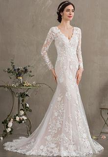 Trumpet/Mermaid V-neck Court Train Lace Wedding Dress (002186370)