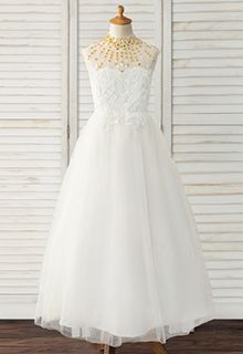 Ball-Gown/Princess Floor-length Flower Girl Dress - Tulle/Lace Sleeveless Scoop Neck With Beading (010183544)
