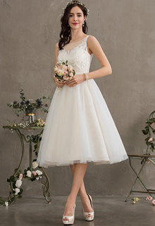 Ball-Gown/Princess Illusion Knee-Length Tulle Wedding Dress With Sequins (002186380)