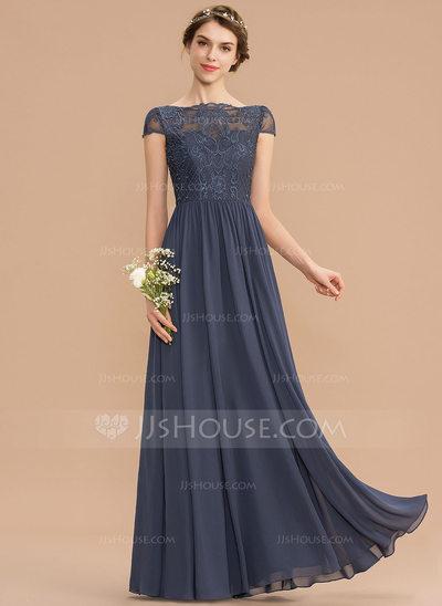 A-Line Scoop Neck Floor-Length Chiffon Lace Bridesmaid Dress...