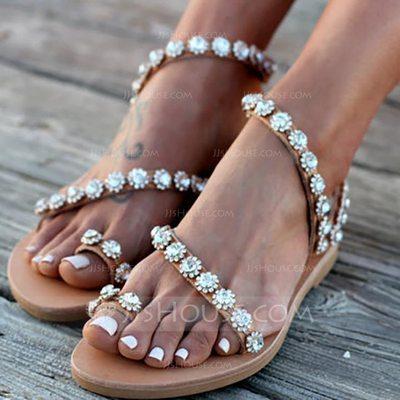 Women's PU Flat Heel Sandals Flats Peep Toe With Others shoe...