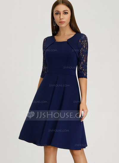 A-Line Square Neckline Knee-Length Polyester Cocktail Dress ...