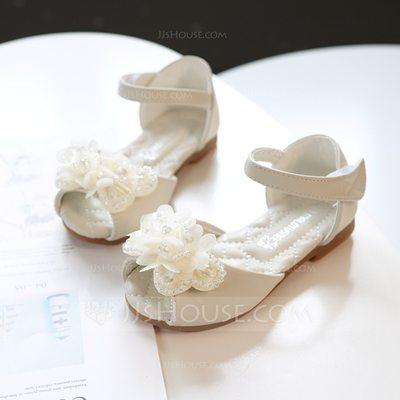 Girl's Peep Toe Microfiber Leather Sandals Flats Sneakers & ...