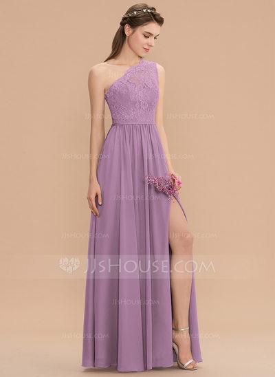 A-Line One-Shoulder Floor-Length Chiffon Lace Bridesmaid Dre...