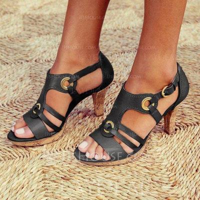 Women's PU Stiletto Heel Sandals Pumps Peep Toe With Buckle ...