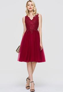 A-Line V-neck Knee-Length Tulle Cocktail Dress (016189308)