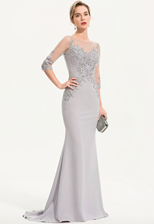 Trumpet/Mermaid Scoop Neck Sweep Train Stretch Crepe Evening Dress With Beading Sequins (017186141)