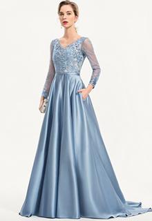 A-Line V-neck Sweep Train Satin Evening Dress With Sequins Pockets (017186121)